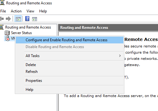 Enable routing and remote access