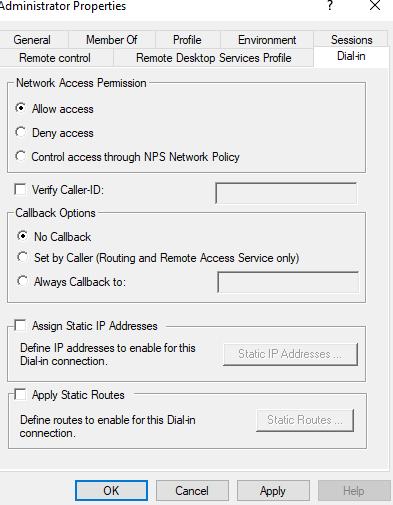 Dial-in settings