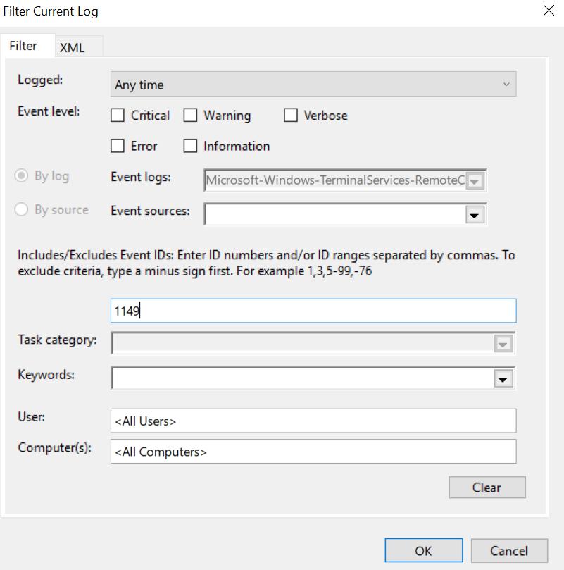 Event log filtering