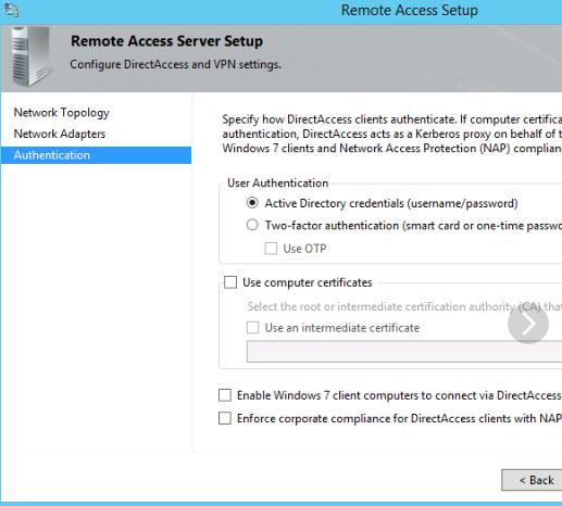 DirectAccess Client Authentication Settings
