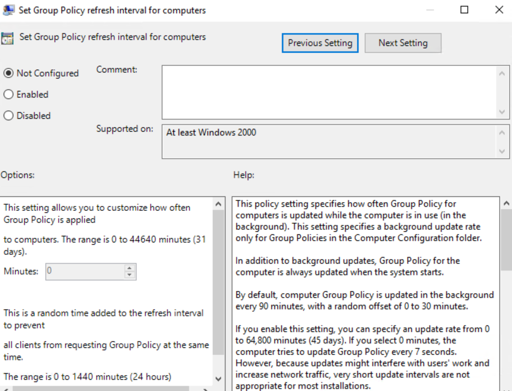 Group Policy Refresh Interval for Computers