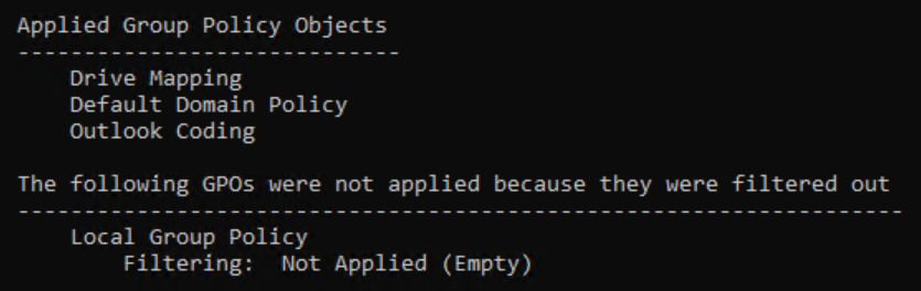 gpresult /r output