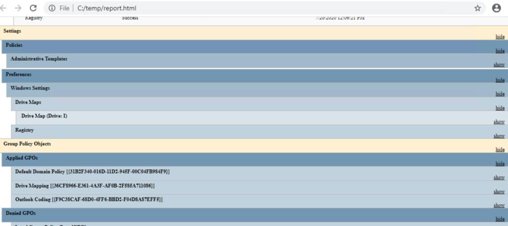 GPResult HTML Report