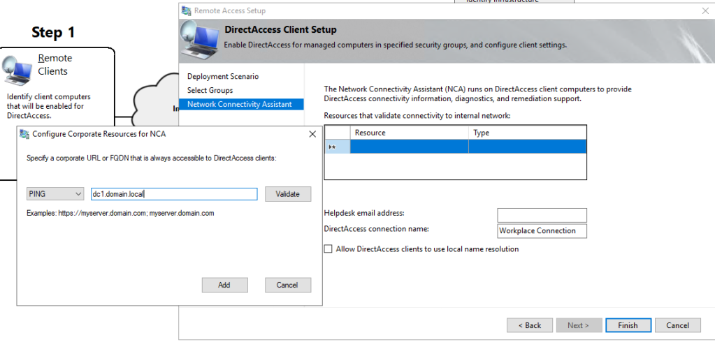 Configure corporate resources for network connectivity assistant