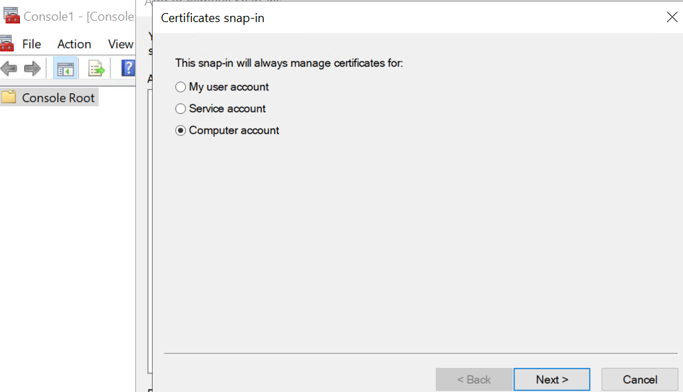 certificates snap-in