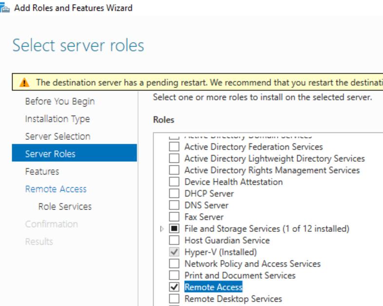 Remote access server role